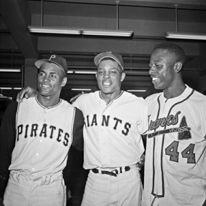 Great All-Stars Roberto Clemente, Willie Mays and Hank Aaron