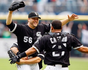 Buehrle and his teammates celebrate their moment of perfection.