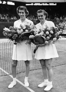 Shirley Fry Irvin (right) and her doubles partner Doris Hart are two of only five players in tennis history to win all four Grand Slam tournaments in both singles and same-sex doubles.