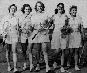 Rollins Tennis Team - New York Times. Feb.1, 1942  Pauline Betz (far left), Nancy Corbett, Peggy Welch, Jane Metcalf, Dorothy Bundy (far right)