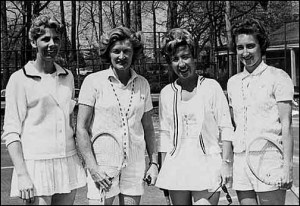 Pictured here in 1966 are (from left to right): Carolyn Bentley, Rollins grad Pauline Betz Addie, former Grand Slam champion Maureen Connolly and Rollins grad Nancy Corse Reed.