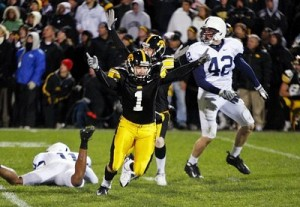 Daniel Murray celebrates his game-winning kick that stunned Penn State in 2008.