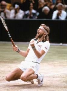 Borg droppped to his knees in victory six times at the French Open and five times at Wimbledon, but never at the U.S. Open.