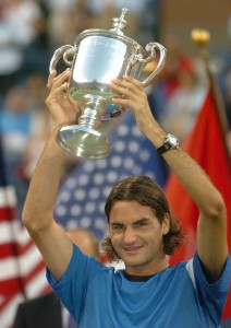 Federer won his first U.S. Open in 2004 defeating Leyton Hewitt.