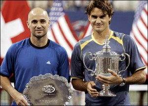 The 35-year old Andre Agassi was no match for Federer at the 2005 U.S. Open