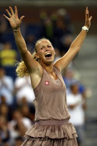 Caroline Wozniacki is in the U.S. Open Semifinals for the first time in her career.