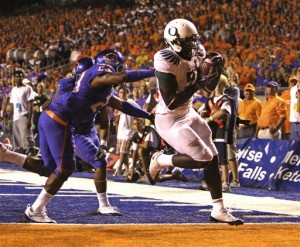 LeGarrette Blount did score a two point conversion against Boise State. But it was his actions after the game that created controversy.