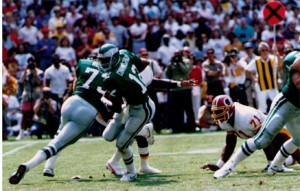 Randall Cunningham passed for 447 yards and five touchdowns against the Redskins.