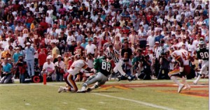 Keith Jackson caught 12 passes and scored three touchdowns against the Redskins.