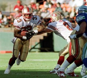 Lawrence Phillips gained 144 yards in eight games with the 49ers.