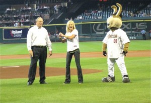 "Natalie Niekro threw out the first pitch at the Houston Astros game on September 13, 2009. She will be throwing out the first pitch at three Arizona Fall League games between October 26-31 as part of ""Aneurysm Awareness Week"" at the Arizona Fall League."