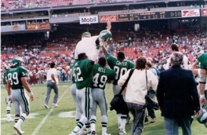 Buddy Ryan got an improbable victory ride after the Eagles rallied to beat the Redskins.