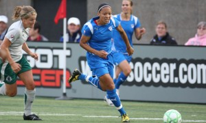 Anglea Hucles of the Boston Breakers in game last season against St. Louis Athletica.
