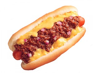 Hot dogs have a long association with sports in America.