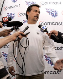Titans coach, Jeff Fisher may be out in Tennessee, but would look great in Buffalo.