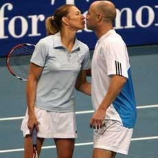 In retirement Agassi and his wife, Stefanie Graf, can be much more relaxed on the tennis court than during their high-profile careers.