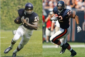 There isn't a great deal different in the uniform worn by Gale Sayers in the 1960s and Matt Forte today.