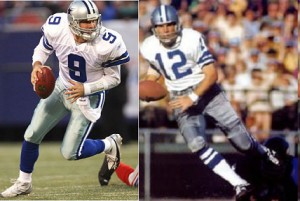 The Cowboys now occasionally wear a variation of their blue uniform, but the white uniform and star on the helmet have changed little since the days of Roger Staubach.