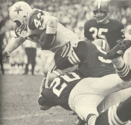 The Dallas Cowboys made their first Thanksgiving Day appearance a successful one in 1966 as Don Perkins rushed for 111 yards to lead the Cowboys past Cleveland.