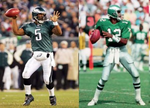 The style of the Eagles uniform hasn't changed a great deal since the days of Randall Cunningham, but the colors worn by Donovan McNabb are a strikingly different shade of green.