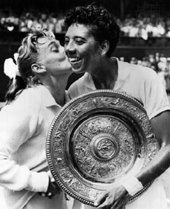 Althea Gibson defeated Darlene Hard in 1957 to win the first of her two consecutive Wimbledon titles.