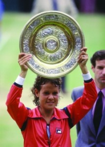 Goolagong won her first Wimbledon title as a teenager in 1971 and her second as a mother in 1980.