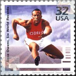 n 1998, the United States Postal Service issued a commemorative stamp depicting Jesse Owens competing in a hurdles event at Ohio State University.