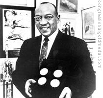 Owens is pictured showing off his four Olympic Gold Medals. He was awarded the Medal of Freedom by President Ford and following his death received the Congressional Gold Medal.