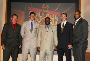 The 2009 Heisman Trophy finalists included (L to R) Toby Gerhart of Stanford, Tim Tebow of Florida, Mark Ingram of Alabama, Colt McCoy and Ndamukong Suh of Nebraska.