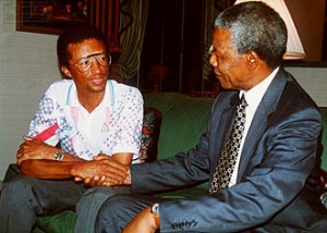Ashe, shown with Nelson Mandel, was an outspoken critic of Apartheid in South Africa.