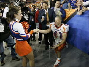 Boise State running back Ian Johnson scored the game winning touchdown then claimed an even greater prize at the 2007 Fiesta Bowl.