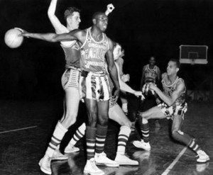 After originally playing serious basketball, the Globetrotters recognized that their niche was as basketball showmen. Goose Tatum was one of their great front-men.