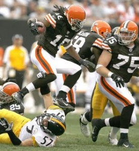 Josh Cribbs and the Browns beat the Steelers 13-6 while my buddy and I got to share it.