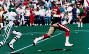 A 68-yard touchdown pass from Joe Montana to Jerry Rice on the first drive of the game signaled that the Champion 49ers were ready to take on the upstart Eagles.