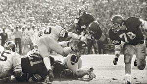 The ruling that Charles White scored before fumbling the football was a big one in the 1979 Rose Bowl.