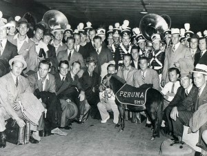The 1935 SMU team, shown with the band and the mascot, went 12-1 and claimed the first national title in school history.