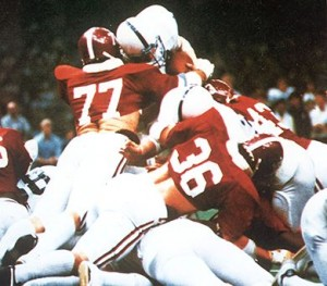 Barry Krauss stopped Mike Guman on fourth down to preserve victory for Alabama in the 1979 Sugar Bowl.