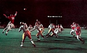 This pass by Tom Clements from in his own end zone was eventually caught by Robin Weber to preserve a 24-23 Notre Dame victory over Alabama in the 1973 Sugar Bowl.