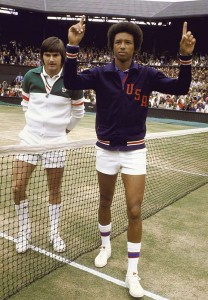 In 1975 Ashe celebrated his 32nd birthday by defeating Jimmy Connors to win the Wimbledon Championship.
