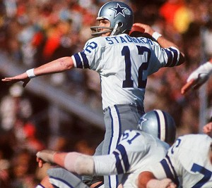 The defending Super Bowl Champion Dallas Cowboys seemed headed for an early playoff exit until Roger Staubach brought them back against the San Francisco 49ers in the 1972 playoffs.