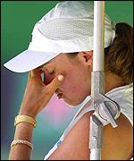 After losing the second set in a tie-breaker, Hingis lost the final set 6-2.