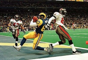 Ricky Proehl caught the game winning touchdown to help the Rams defeat the Buccaneers in the 1999 NFC Championship Game.