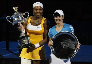Serena Williams topped Justine Henin in a great three set match.