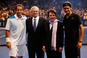 Shown are four of the greatest tennis champions of all-time: Pete Sampras, Emerson, Billie Jean King and Roger Federer.