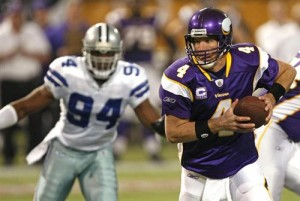 Brett Favre and the Vikings easily dismissed the Cowboys to reach the NFC Championship Game.