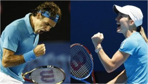 Roger Federer and Justine Henin have been sporting similar colors and similar emotions during the Australian Open.