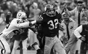 The miracle reception by Franco Harris led to the first of many playoff victories for the Pittsburgh Steelers.
