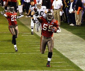 Derrick Brooks put the final nail in the coffin as the Buccaneers defeated the Raiders in Super Bowl XXXVII.