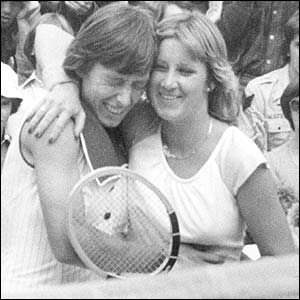 Navratilova and Chris Evert first met on the court in 1975. Evert and the other players on tour became Navratilova's surrogate family following her defection.