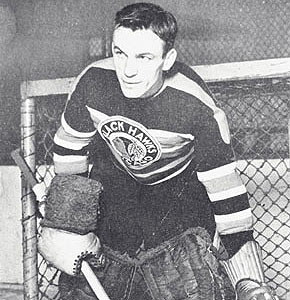 Mike Karakas was the goalie on the team of American born players competing for the Chicago Blackhawks in 1937.